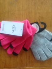 TOUCH SCREEN MAGIC GLOVES ONE SIZE SUPER STRETCHY M&S 2 PAIR PINK/GREY BRAND NEW