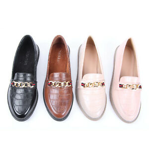 WOMENS LADIES FASHION GOLD CHAIN SLIP ON FORMAL CASUAL COMFORTABLE LOAFER SHOES