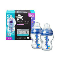 Tommee Tippee AAC 2 Bottle 260ml Advanced Anti-Colic Baby Heat SENSING boys