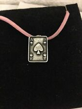 Ace Of Spades Card R149 English Pewter Emblem on a Pink Cord Necklace Handmade