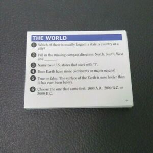 2011 Brain Quest  Smart Game Replacement Parts Pieces-  44 World Cards