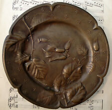 Rare Antique French Art Nouveau Bronze Tray Hazelnuts signed by J. CALLOT c1900