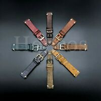 18-24 MM Genuine Soft Leather Watch Band Strap Vintage Black Fits for Invicta US