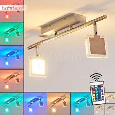 Plafonnier 2 branches Lustre LED Chrome Lampe à suspension Changeur de couleur