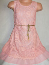 GIRLS PASTEL PINK FLORAL LACE CHIFFON CONTRAST PARTY DRESS age 2-3