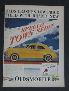 Original 1941 Print Ad OLDSMOBILE Special Town Sedan 4 Door Yellow Art