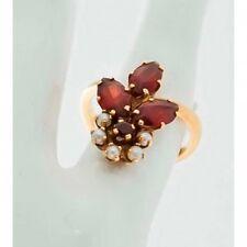 Bague ancienne Mineralife Fleur en or jaune perles et grenats