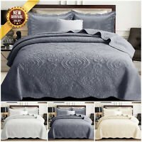 3 Piece Quilted Cotton Bedspread Embroidered Bedding Set Single Double King Size