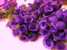 "144 Poly Silk Rose Flower 4"" Stem/leaf/trim/Wedding Bouquet H415-Wholesle-Purple"