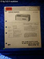 Sony Service Manual ICF C600L Cassette Digital Clock Radio (#3213)