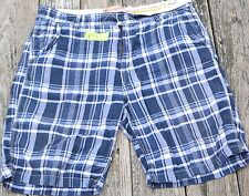 Men's Nautica Jeans 100% Cotton Dark Blue Plaid Shorts EUC W41 L11 1/2 Type N
