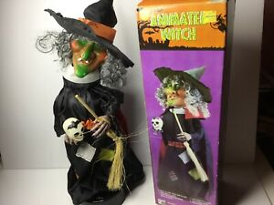 1988 Vintage HALLOWEEN WITCH animated Skull Eerie sounds blinking eyes See Video