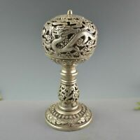 China White Copper Silver Dragon Flower Incense Burner Censer Bronze Statue