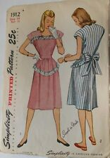 Vintage 1940's Simplicity Sewing Pattern #1912 Miss Size 14 One Piece Dress