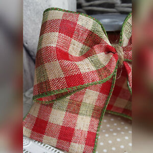 Wired Hessian Checked Christmas Ribbon. Natural Bow Cake Tree Wreath Xmas