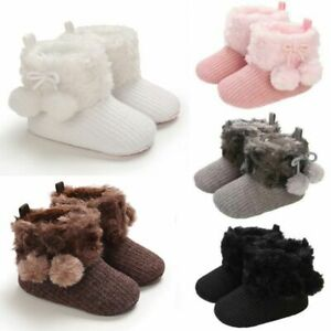 Pom Boots Faux Fur Winter Snow Booties Boy Girl Pram Shoes Newborn Baby
