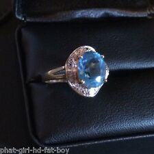 Stunning 10K Yellow Gold Round Shaped Blue Topaz Ring 10KT - 3.7g - NOT SCRAP