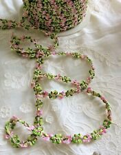 Vintage French Rococo Ombre Pink/Green Rosette Sewing Trim 1 yard