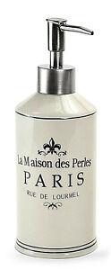 Soap/Lotion Dispenser - La Maison Des Perles Paris - White Ceramic - Unique!