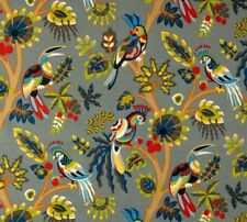 Outdoor/ Indoor ~ Upholstery ~ Paradise Birds ~ Grey ~ Fabric~ per 1/4 yard