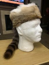 Rabbit Raccoon Fur Hat Coon Skin Cap Tail Mountain Trapper Small Size Small