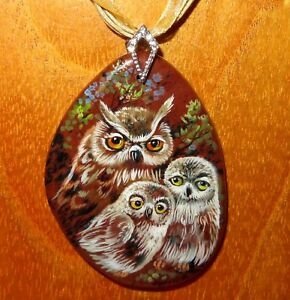 STONE Pendant OWL FAMILY BIRD Russian Genuine Hand Painted signed Gorbachova ART