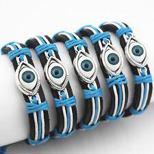 12 Pcs/lot  Blue Evil Eye Wrapped Real Leather Bracelet Unisex Vintage Bracelet
