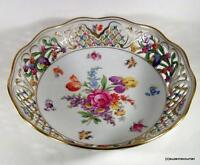 """Erly Schuman Bavaria CHATEAU DRESDEN Flowers Reticulated Round 10"""" Serving Bowl"""