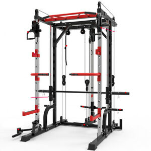 Smith Machine Heavy Duty Steel Barbell Squat Power Tower Stand Rack GYM Fitness