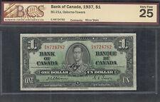 1937 OSBORNE $1.00 BC-21a BCS VF-25 Very SCARCE King George VI Canada One Dollar