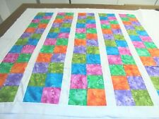 "Quilt Blocks Top only Cotton Fabric Squares strips 39""x 40"" baby or lap"