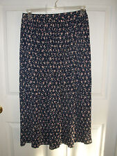 Vintage Talbots - Navy Floral / Flower Pleated Skirt - Size 10