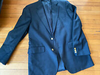 Brooks Brothers Mens Wool Long Sleeve Notch Collar Blazer Size 38 R Black
