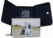 BEARDED COLLIE DOG DENIM BLUE FABRIC PURSE WALLET WATERCOLOUR PRINT SANDRA COEN