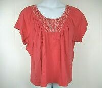 St. John's Bay Plus Size 2X Coral Red Short Sleeve Embroidered Blouse