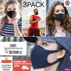 FACE MASK 3 PACK WASHABLE QUALITY REUSABLE MOUTH BLACK FACE MASK UK STOCK