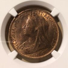 1896 GREAT BRITAIN ONE PENNY NGC MS 64 RB - BRONZE - 14 in HIGHER GRADES