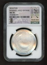 2014-P Baseball Hall of Fame S$1 NGC MS70 Derek Jeter Facsimile Signature