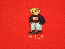 Polo Ralph Lauren Blanket Fleece Red Embroidered Teddy Bear Throw 48x72 GUC