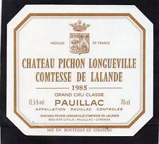 PAUILLAC 2E GCC ETIQUETTE CHATEAU PICHON LONGUEVILLE COMTESSE 1985  §04/07/18§