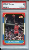 1986 Fleer Basketball #57 Michael Jordan Rookie Card RC Graded PSA Nr Mint 7
