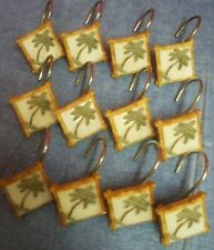 "Set of 12 Palm Tree and Bamboo Look Shower Curtain Hooks Appr 1 3/4"" Square"