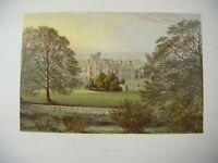 ANTIQUE c1870 Chromolithograph Colour Print of ILAM HALL Derbyshire