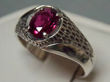 mens 1.55ct red Ruby 925 sterling silver ring size 12 USA made
