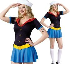 Ms Popeye Sailor Girl Uniform Costume Dress for Halloween Cosplay Adult Size M/L