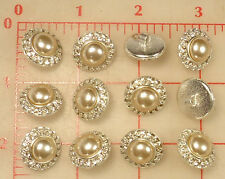 2 Silver Metal Shank Buttons Tiny Clear Rhinestones & Pearl Center 18mm #430
