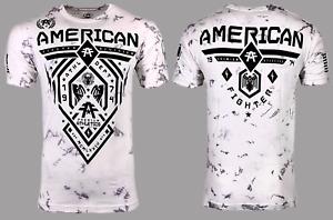 AMERICAN FIGHTER Men's T-Shirt FAIRBANKS Athletic Biker white MMA S-5XL