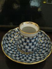 Russian LOMONOSOV Porcelain COBALT NET  Great  Set - HONEY Jar & & Saucer.