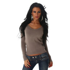 Basic Feinstrick Sweatshirt Shirt Pulli Pullover V Ausschnitt  Braun 34 36 38
