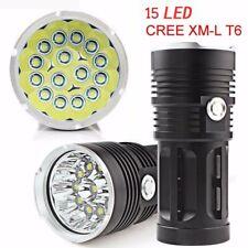 38000LM 15LED CREE XM-L T6 LED linterna antorcha 4x 18650 lámpara de luz de caza